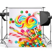 HelloDecor Polyester Fabric 5x7ft candy buffet bar shop theme backdrop party baby shower Birthday Backgrounds