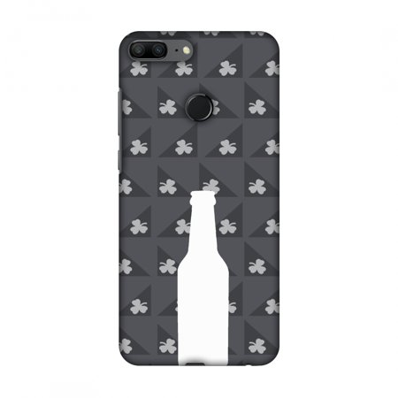 Huawei Honor 9 Lite Case - Beer and pattern with shemrock - Burnt grey, Hard Plastic Back Cover, Slim Profile Cute Printed Designer Snap on Case with Screen Cleaning Kit (Pattern Plastic Back Cover)
