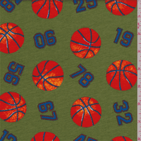 Green Basketball Print Interlock Knit, Fabric By the Yard