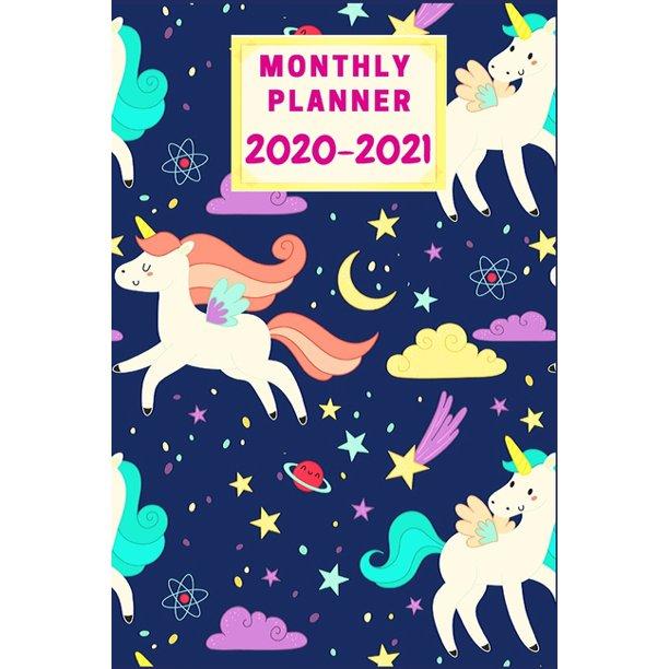 Monthly Planner 2020-2021: cut unicorn planner/calendar ...