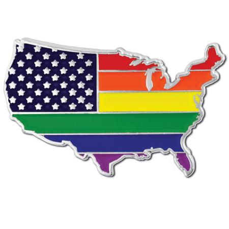 PinMart's Gay Pride USA Shape Flag LGBT Enamel Lapel Pin - Usa Flag Pin