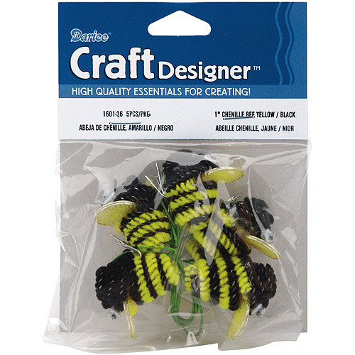 """Chenille Bees with Wire, 1"""", 5pk"""