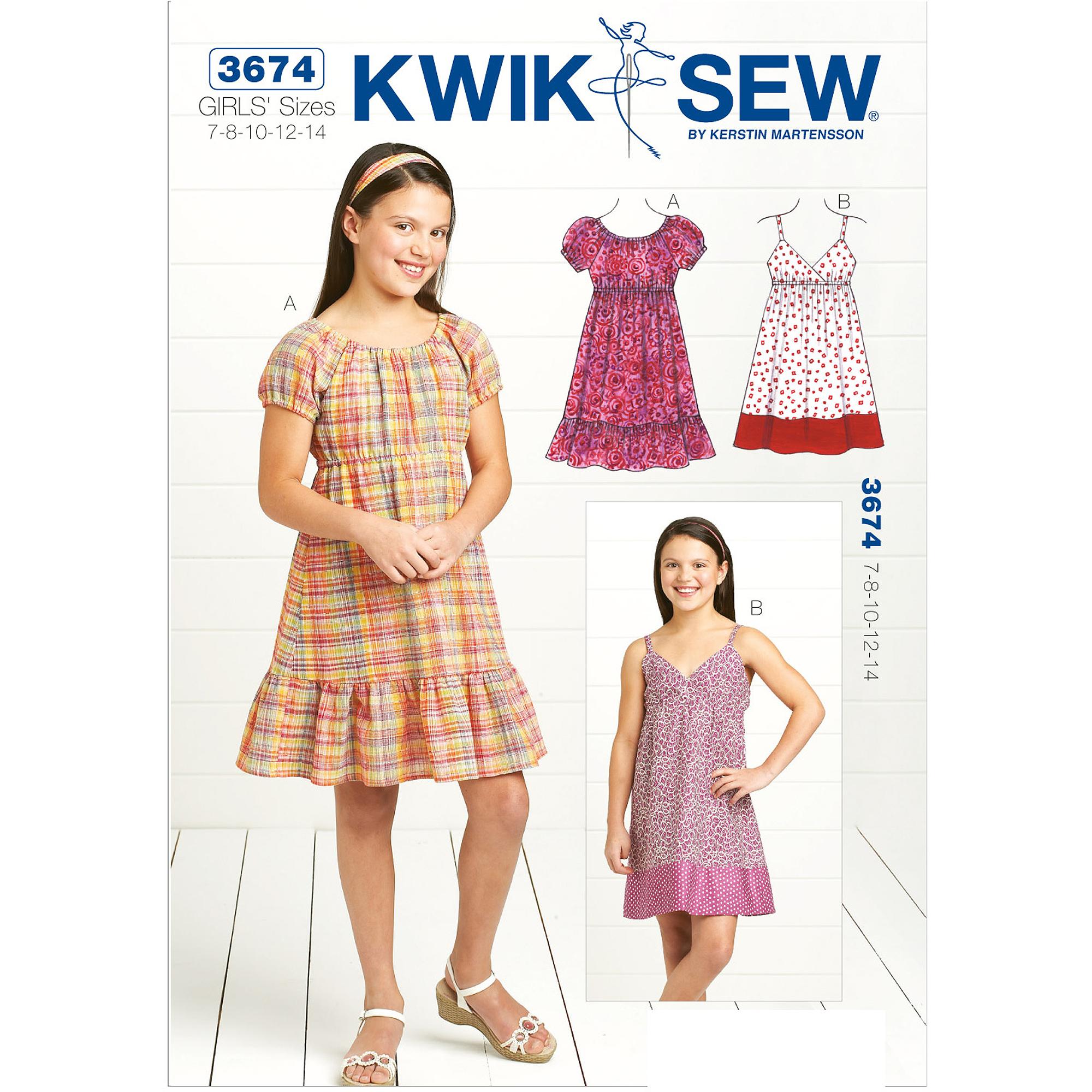 Kwik Sew Pattern Dresses, (7, 8, 10, 12, 14)