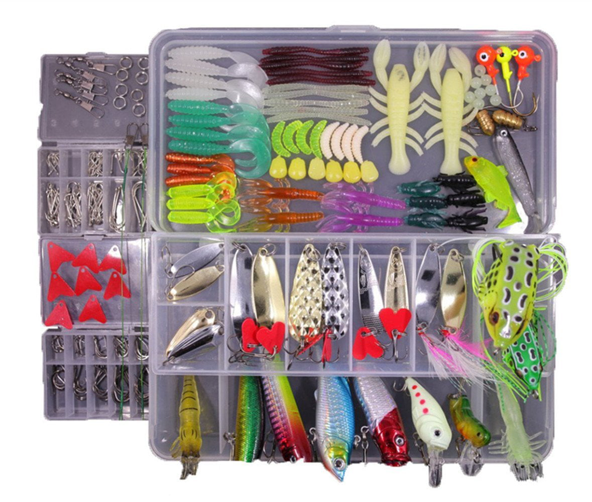 Click here to buy 234PCS BOX Fishing Lures Mixed Lots including Hard Lure Minnow Popper Crankbaits VIB Topwater Diving Floating Lures Soft Plastics Worm....