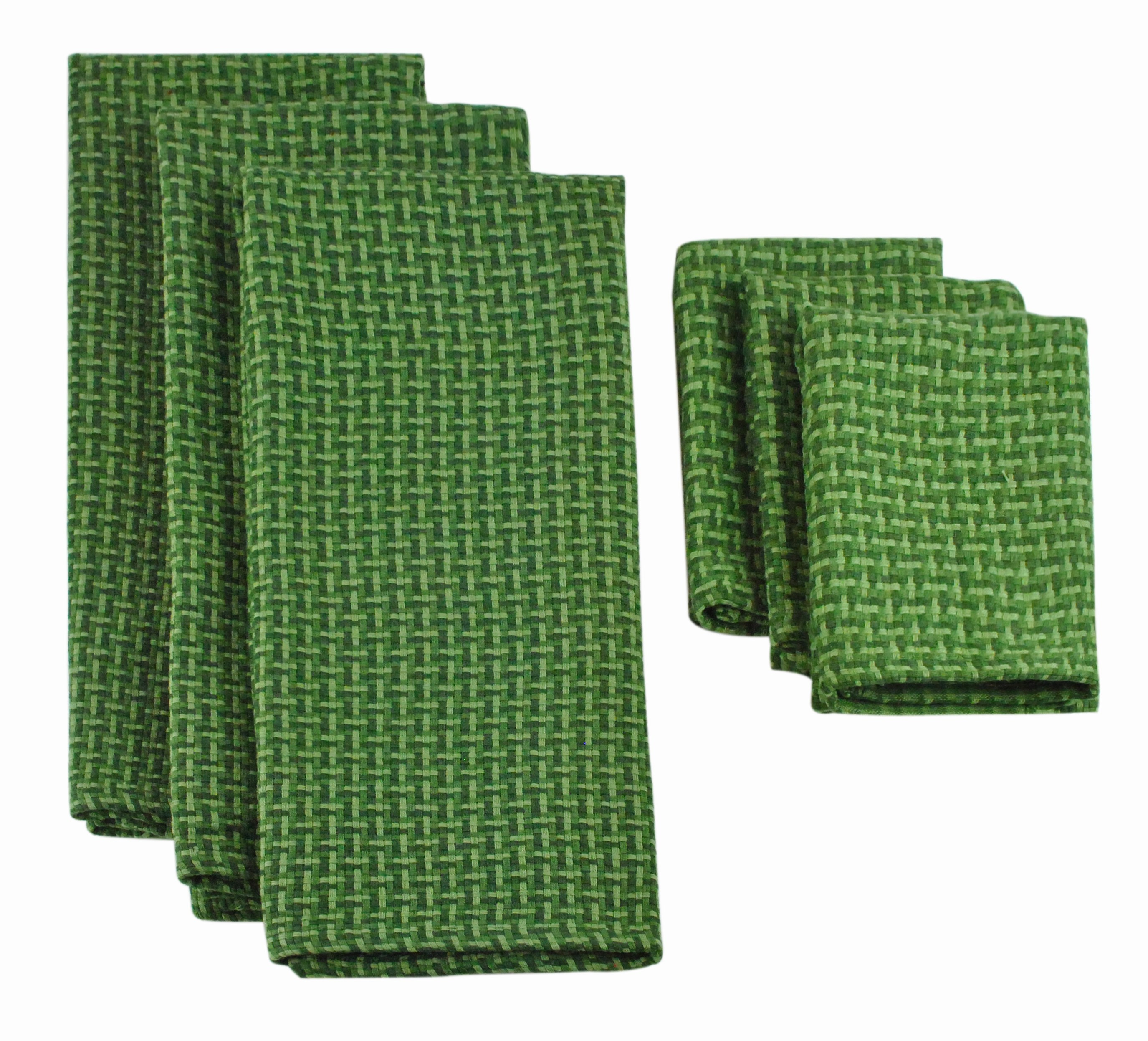 Design Imports Heavyweight Dishtowel and Dishcloth Set (3 Pieces), Vineyard Green
