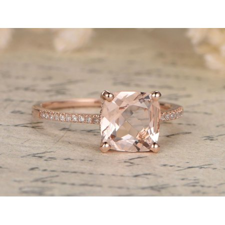 Antique 1.25 Carat Art Deco Cushion Cut Morganite and Diamond Engagement Ring in Rose Gold