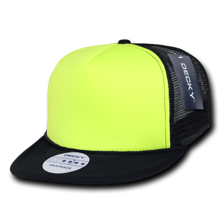 4ad16b296f8 DECKY FLAT BILL TWO TONE NEON FOAM TRUCKER HATS HAT CAPS CAP For Men Women  Black Neon Yellow - Walmart.com
