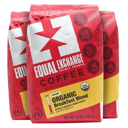 Equal Exchange Organic Breakfast Blend Ground Coffee, Medium Roast, 36 Ounce (Pack of 3 x 12oz Bags)