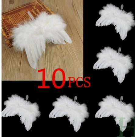 US Chic Angel Feather Wing Christmas Tree Decor Hanging Ornament Wedding 10PCS Seraphim Angel Ornaments