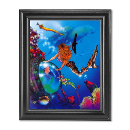 Mermaid and Sailor with Ocean Fish Dolphin Fantasy Wall Picture Black Framed