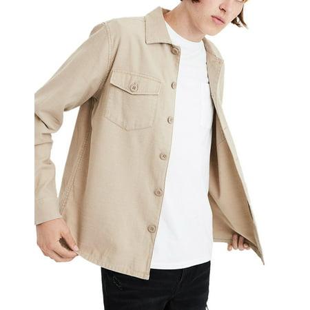 (New  American Eagle Mens Khaki Beige Big Button Down Military Shirt Sz 2XL XXL 3088-5)
