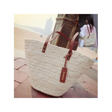 3cb104940915 Women Summer Tote Shopping Handbag Beach Bag Straw Woven Shoulder Purse