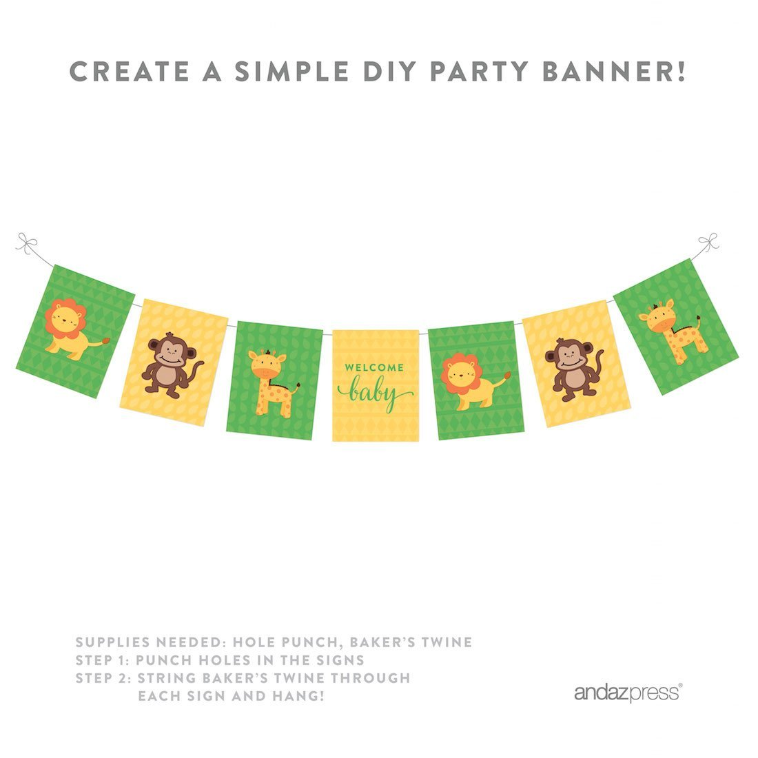 Jungle Safari Baby Shower Party Signs & Banner Decorations, 20-Pack