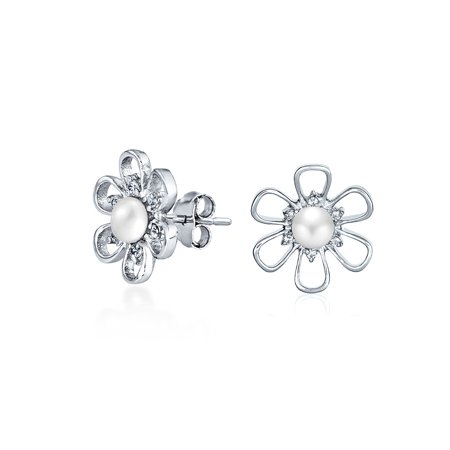 White Freshwater Cultured Pearl Open Daisy Flower CZ Stud Earrings For Women For Teen 925 Sterling Silver - image 3 of 3