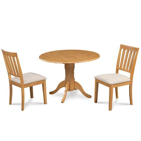 M&D Furniture BUMO3-OAK-C Burlington 3 Piece small kitchen table set-kitchen table and 2 dining chairs in Oak finish ()