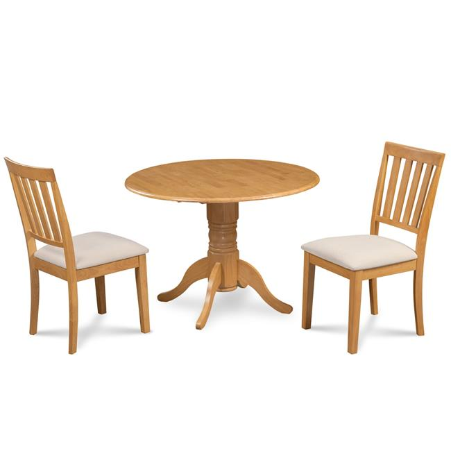 M&D Furniture BUMO3-OAK-C Burlington 3 Piece small kitchen table set-kitchen table and 2 dining chairs in Oak finish