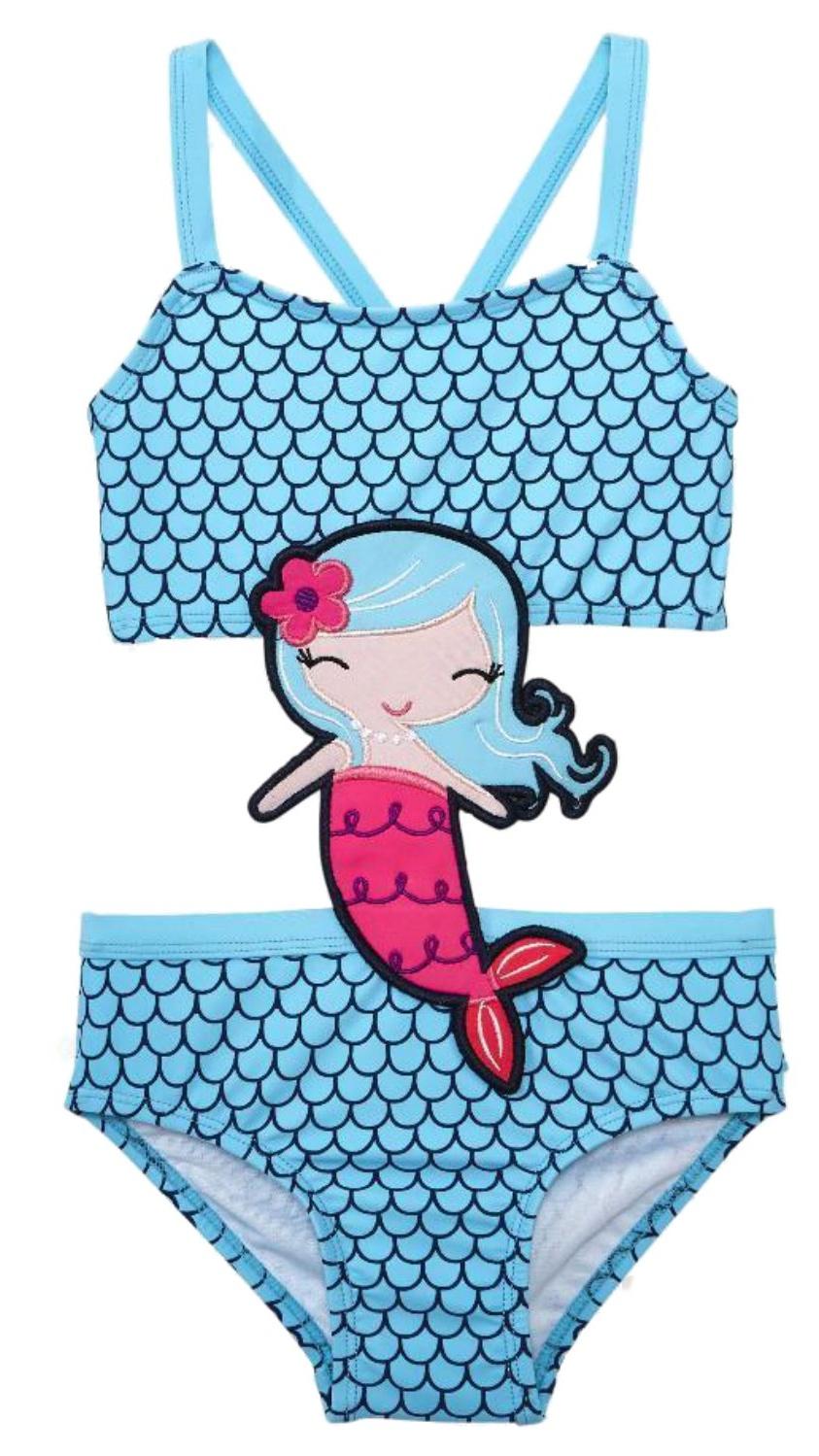 KOALA Infant Girls Vibrant Coral Pink Rosette 1 Piece Swimming Suit 3-6m
