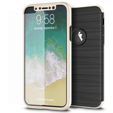 iPhone X Case, Nakedcellphone Capsule [FULL BODY] Hybrid Cover [with TEMPERED GLASS] Screen Protector for Apple iPhone X / (Apple Iphone 4 Model A1332 Emc 380a)