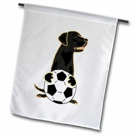 3dRose Funny Cute Labrador Retriever Dog Playing Soccer Polyester Garden Flag
