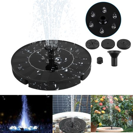 EEEKit Solar Fountain Pump with LED Lights, Solar Birdbath Fountain with 4 Nozzles, 1.4W Solar Powered Fountain Pumps Submersible Outdoor, for Bird Bath, Small Pond, Swimming Pool, Garden,