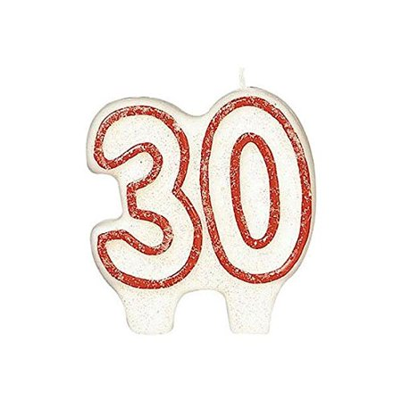 Numeral #30 Glitter Candle - White with Red Border (30 Candles)