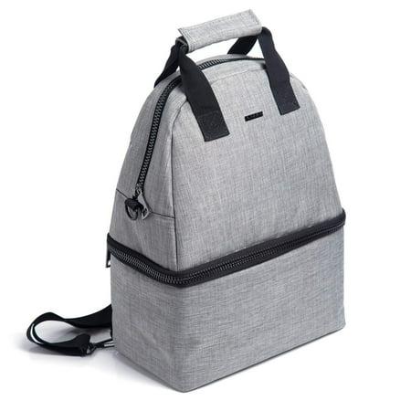 Backpack Insulated Bag - PuTwo Lunch Bag 14L Insulated Cooler Backpack Bag 2 Compartments Leakproof Lunch Tote with Adjustable Shoulder Strap Cooler Backpack Bag for Kid Adult Men Women Lunch Cooler Bag for Picnic Work - Gray