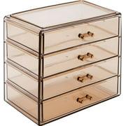 Makeup Storage Case (4 Large Drawers, Brown)