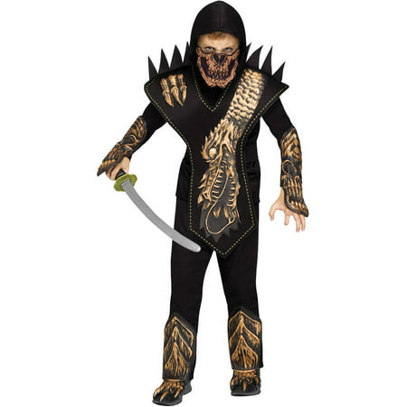 Gold Skull Dragon Ninja Boys Child Halloween Costume - Half Skull Costume