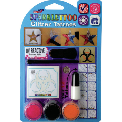 RUBY RED PAINT, INC. 16 Piece UV/Blacklight Glitter Tattoo Set