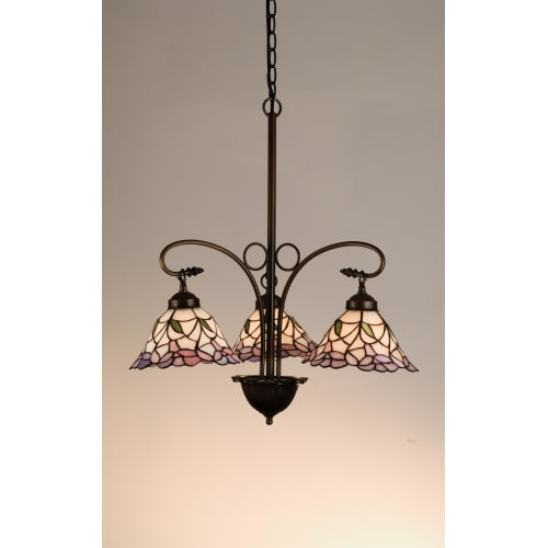 Meyda Tiffany 27419 Stained Glass   Tiffany 3 Light Down Lighting Chandelier from the Daffodil Bell Collection by Meyda Tiffany