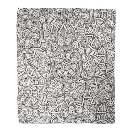 POGLIP Throw Blanket Warm Cozy Print Flannel Floral Pattern Black and White Round in Not Great Choice for Adult Coloring Comfortable Soft for Bed Sofa and Couch 58x80 Inches - image 1 of 1