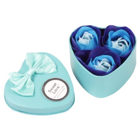 3Pcs Heart Scented Bath Body Petal Rose Flower Soap Wedding Decoration Gift Blue