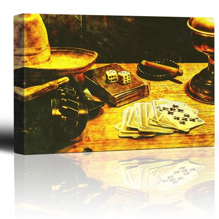 wall26 - Cowboy Gambler - Cigar Smoking in Ashtray - Deck of Cards and Pair of dice - Gunbelt hat and Gloves - Canvas Art Home Decor - 12x18