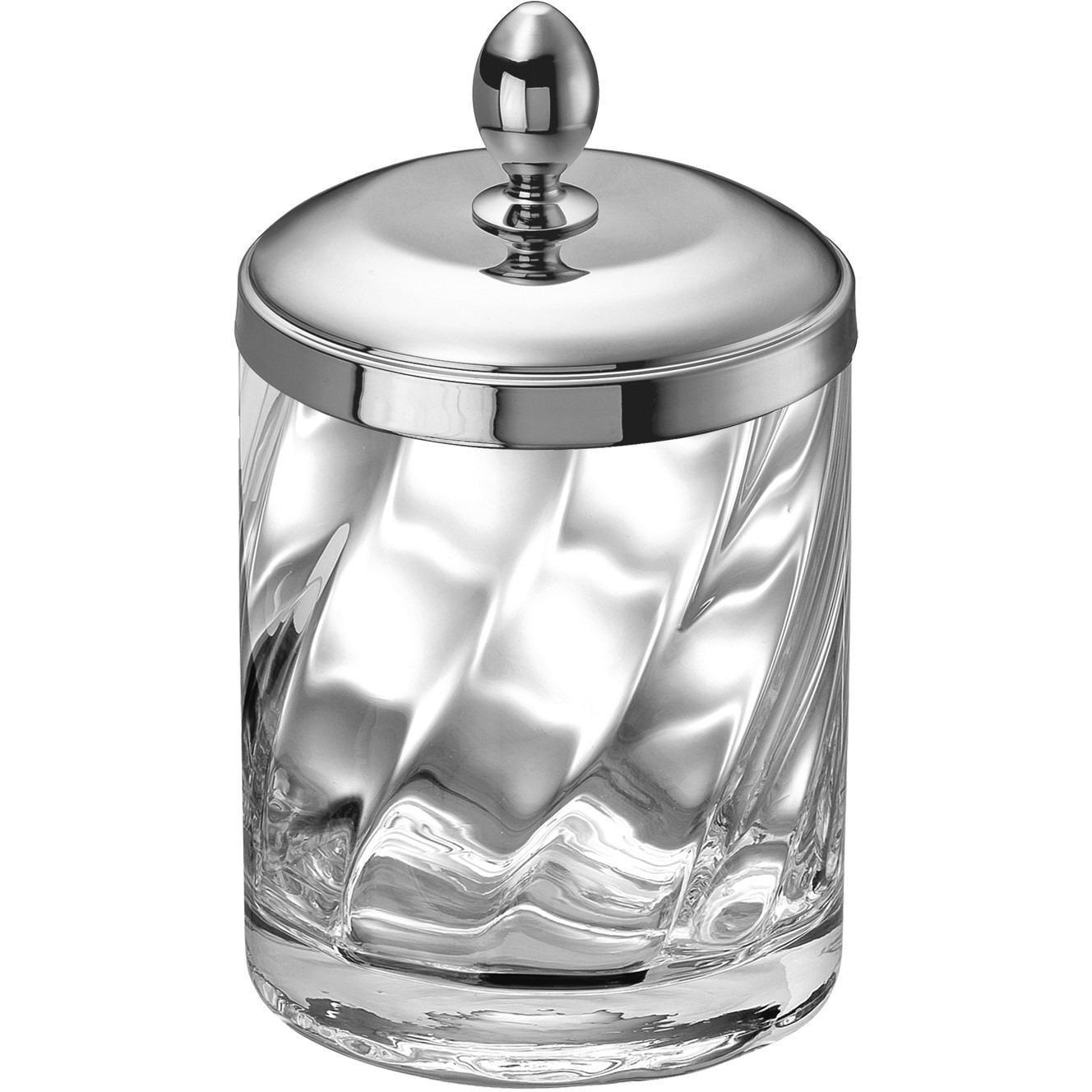 Spiral Clear Glass Round Cotton Ball Swab Holder Q Tip Jar For Bathroom Brass Walmart Com Walmart Com