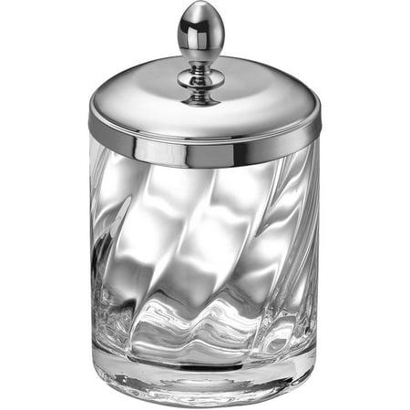 Spiral Clear Gl Round Cotton Ball Swab Holder Q Tip Jar For Bathroom Br