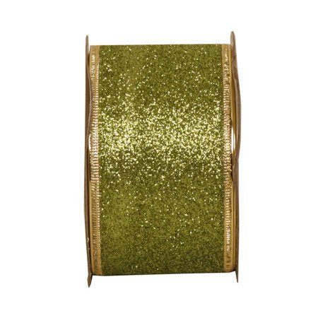 JAM Paper Wire Edged Ribbon, 2 x 9 ft., Lime Green Glitter, Sold Individually - Lime Green Ribbon