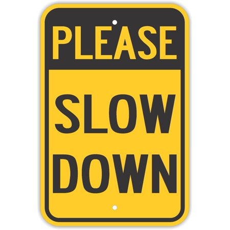 Traffic Signs - Please Slow Down Signs Children Playing Kids 10 x 7 Aluminum Metal Sign Street Weather Approved Sign 0.04 Thickness (7 Block Play Traffic Signs)