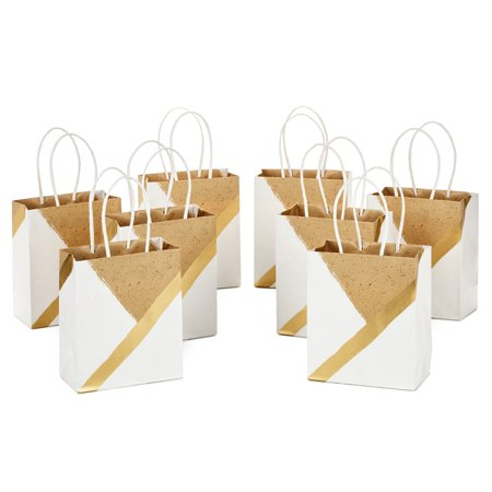 "Hallmark 6"" Small Paper Gift Bags - White and Kraft (Pack of 8 for Birthdays, Weddings, Christmas, Baby Showers, Bridal Showers and More)"