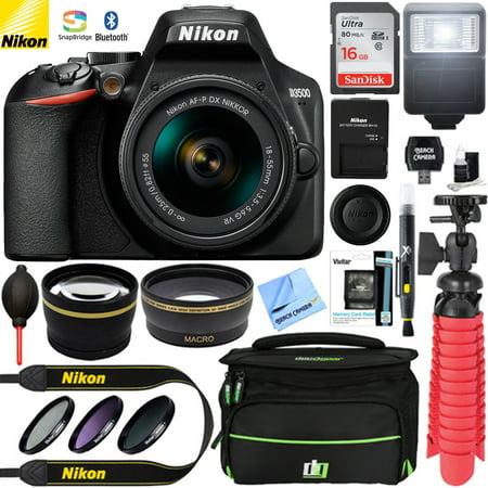 Nikon D3500 24.2MP DSLR Camera (Renewed) + AF-P DX 18-55mm VR NIKKOR Lens Kit + Accessory Bundle 16GB SDXC Memory + SLR Photo Bag + Wide Angle Lens + 2.2x Telephoto Lens + Flash & More