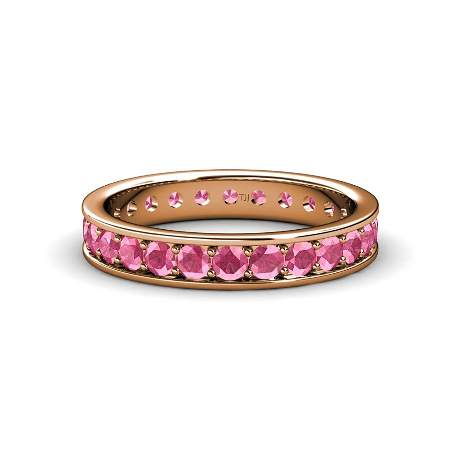 Pink Tourmaline Channel with Prong Set Eternity Band 0.74ct tw to 0.88ct tw in 14K Yellow Gold.size 5.5 by TriJewels