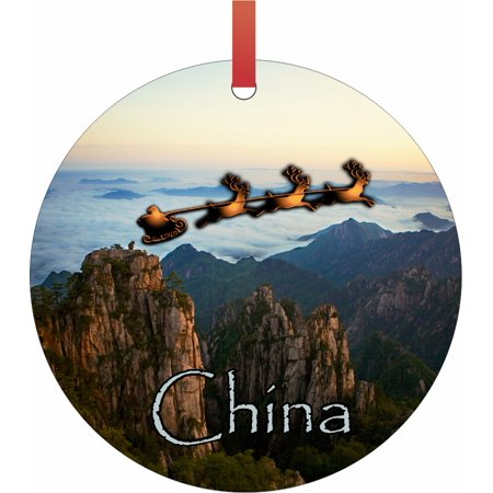 Santa and Sleigh Over The Great Wall of China - TM - Double-Sided Round-Shaped Flat Aluminum Christmas Holiday Hanging Ornament with a Red Satin Ribbon. Made in the USA!
