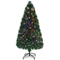 Costway 5Ft Pre-Lit Fiber Optic PVC Christmas Tree Metal Holiday