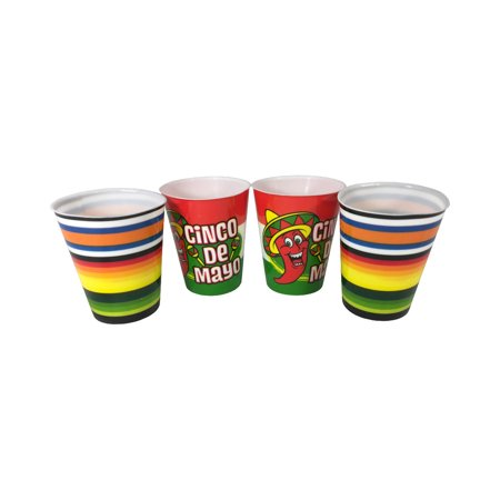 Adult's Cinco De Mayo 4 Piece Novelty Shot Glass Set Costume Accessory (Mayan Costume)