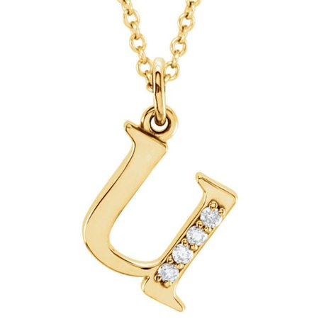 Fine Jewelry Vault UBPDS85803Y14DU Delicately Designed Pretty Diamond U Initial Pendant in 14K Yellow Gold Unique Gifting Idea](Necklace Ideas)