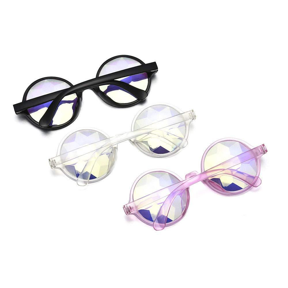 Festival Retro Frame Round Kaleidoscope Glasses Rave Rainbow PC lens Party Decor