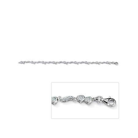 1/8 TCW Round Diamond Accented Heart and Wings Ankle Bracelet in Platinum over Sterling Silver 9