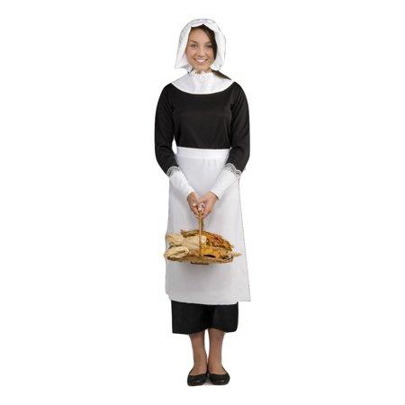Instant Colonial Pilgrim Costume Pioneer Woman Kit Adult Female Set Bonnet Apron