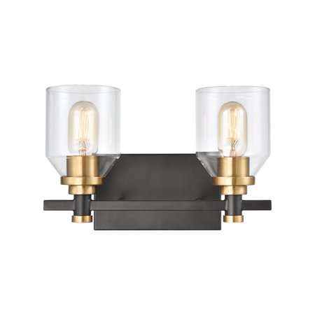 ELK Lighting Cambria 2-Light Vanity Light in Matte Black with Clear (Cambria 3 Light)