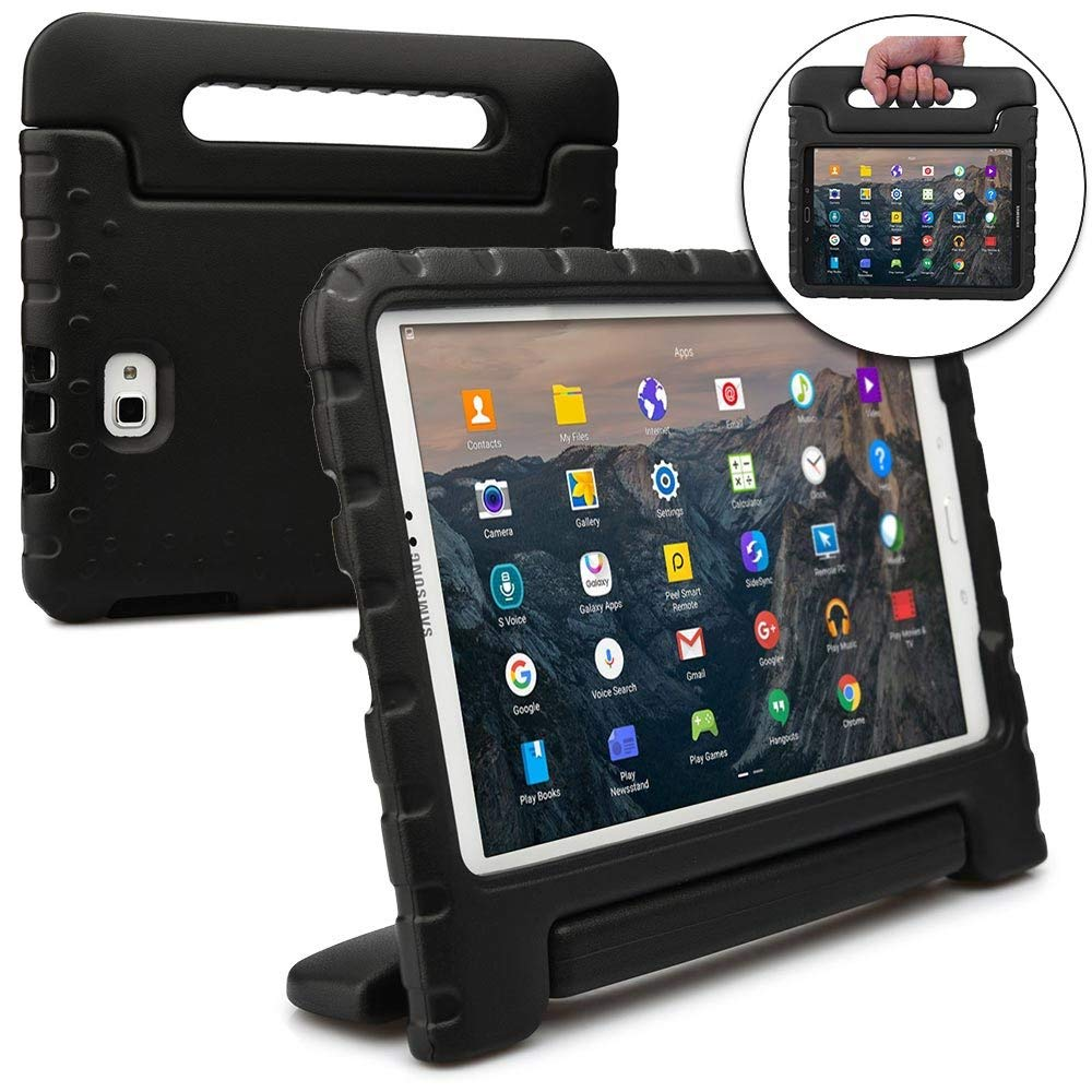Goodest Samsung Galaxy Tab A 10.1 Kiddie Case, Rugged Heavy Duty Children's Boys Girls Drop Proof Protective Carry Case Cover Handle, Stand, Screen Protector SM-T580/T585/T587, Black