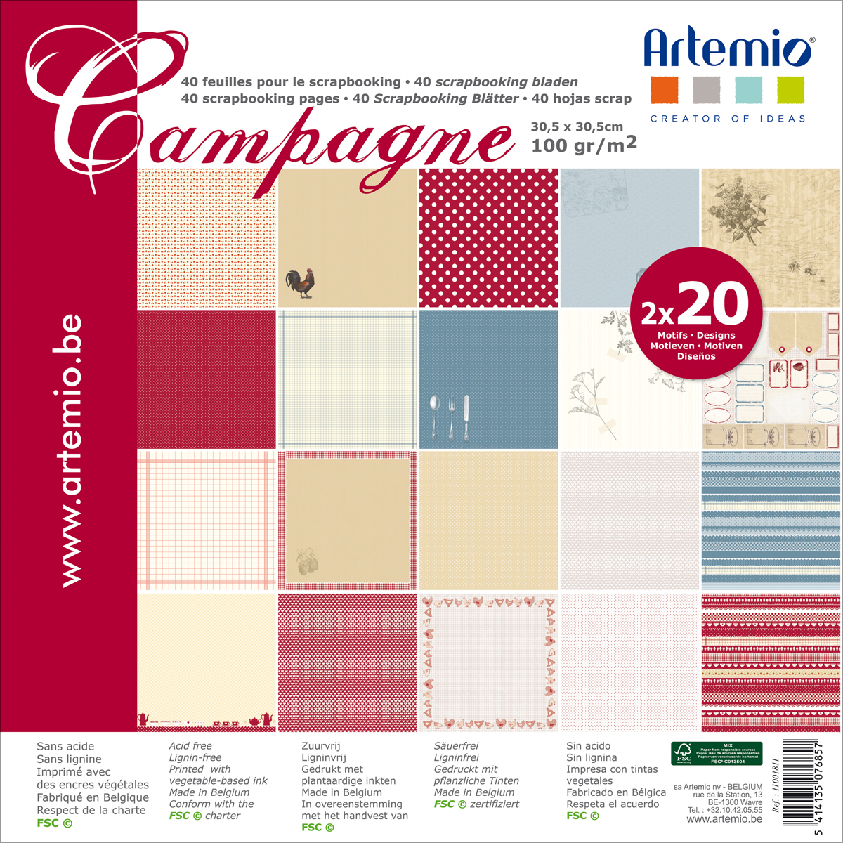 "Artemio Single-Sided Paper Pad 12""X12"" 40/Pkg-Campagne, 20 Designs/2 Each"